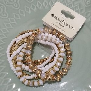Riah Fashion Beaded Bracelet Set of 8 White & Gold